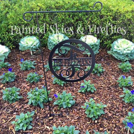 Garden Flag Yard Sign With Initial And Last By