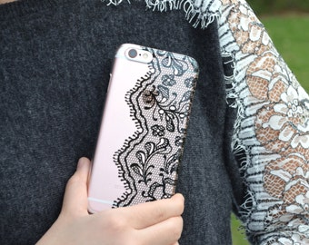 5045 // Black Lace Doily Clear Case iPhone 6 iPhone 6S iPhone 6 Plus Case Lace Collection