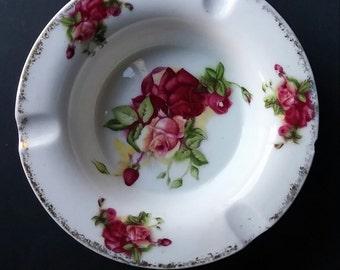 Vintage Rose Ashtray