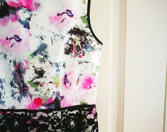 Floral dress with black French lace bottom details