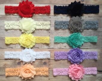 PICK 3 Lace Headbands, Baby Girl Headbands, Newborn Headbands, Shabby Chic Headbands, Headband Set, Baby Headbands, Gift Set