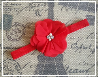 Red baby headband, flower headband, baby flower headband, baby accessories, baby girl, baby shower gift, headband, Newborn headband