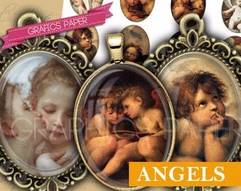 Angels antique children ovals - OV107 - 30 x 40 mm ovals  - printable images ovals - Bottle caps, images pendants, Instant download oval