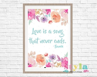 Floral Bambi Quote Print