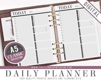 A5 Daily Planner Inserts - CLASSIC Collection - Undated One Day Per Page - Fits Kikki K Large and Filofax A5 Planners - Schedule, Reminders