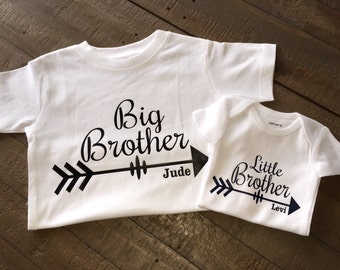 Personalized Big Brother Little Brother Shirt Set