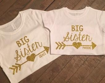 Personalized Big Sister Shirt Set