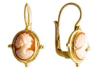 Cameo Earrings in Sterling Silver with 24K Gold Plating, New Old Stock