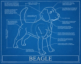 Beagle Blueprint Elevation / Beagle Art / Beagle Wall Art / Beagle Gift / Beagle Print