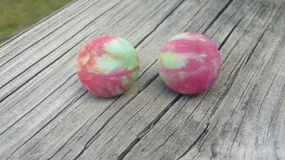 Button Earrings, Tie Dye earrings, Costume Jewelry, Fabric Earrings, Round Earrings, Ice Dye Earrings, Nickel Free Earrings, Pink Earrings