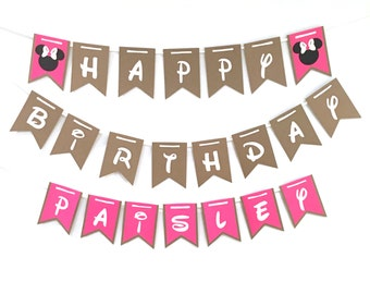 Pink Minnie Mouse banner, Hot Pink, White, happy birthday banner, Hot pink minnie mouse party decorations