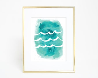 Watercolor Print, Wave Print, Ocean Waves Print, Trending Now, Downloadable Print, Ocean Print, Printable Art, Ocean Wall Art, Most Sold