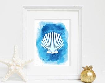 Shell Print, Blue Scallop Wall Decor, Scallop Wall Art, Digital Print, Downloadable Print, Printable Art, Beach Nursery, Art Print