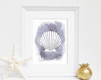 Coastal Art, Watercolor Shell Print, Scallop Print, Sea Shell Wall Art, Seashell Print, Beach Home Decor, Beach Wall Art, Nautical Wall Art