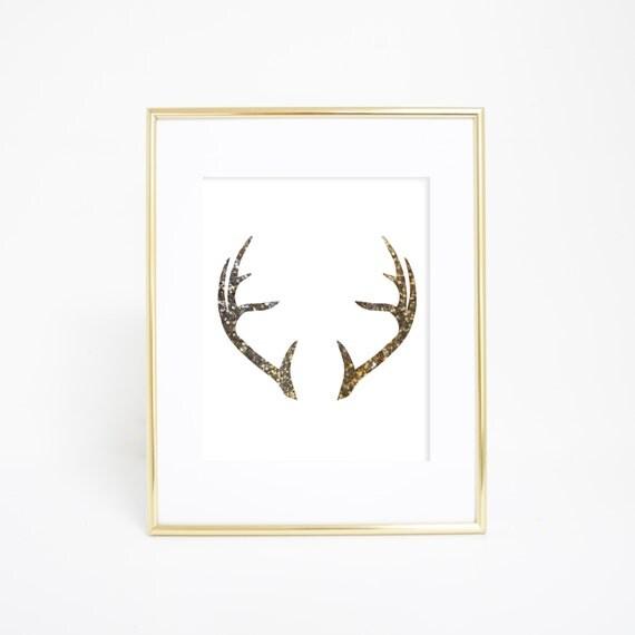 Gold Antlers, Deer Antlers Print, Wall Art, Printable Antlers, Gold Print, Minimalist Art, Printable Antler Art, Instant Download