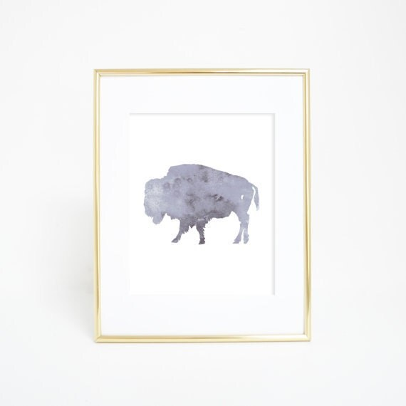Bison Art Print, Gray Bison Art, Bison Print, Buffalo Print, Gray Buffalo Print, Forest Animals, Nursery Animal Art, Buffalo Art Print