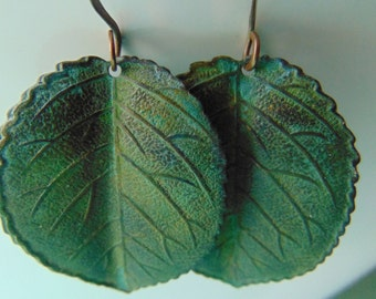 Gorgeous Large Verdigris leaf earrings, nature inspired earrings, leaf earrings, green leaf earrings,Rusty, leaf jewelry, gift