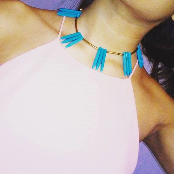Gold-Turquoise geometric Necklace