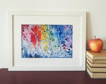 Rainbow love trees, zendoodle print of my original painting.