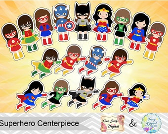 18 Printable Superhero Girls Centerpiece Instant Download Superhero Cake Topper Superhero Girl Table Centerpiece Little Girls Superhero 0031