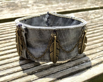 Hand made recycled demin cuff