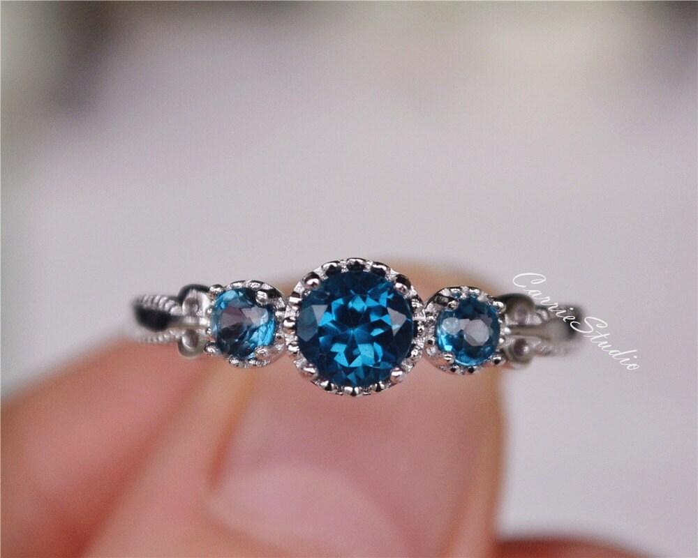 Antique Delicate Natural London Blue Topaz Ring Topaz