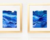 Diptych of Undercurrent Snorkel Bue Inks, Oceanscape, Ocean Art, Pair of prints