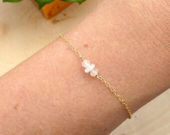 Rose Quartz and Moonstone Mini Bar Bracelet