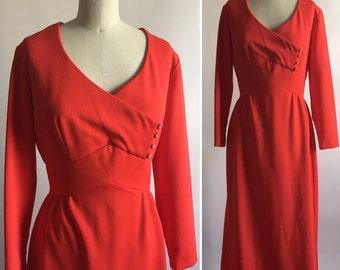 Vintage red dress. Mod dress. Vintage maxi dress. 1960's dress. Long sleeve dress. Red vintage dress. Rhinestone detail dresss. Mad men