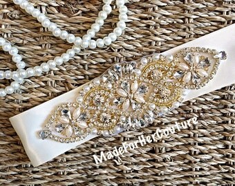 Wedding dress sash-wedding Sash Belt-Pearl Crystal Sash-Rhinestone belt, Bridal Belt Gold-Bridal Sash-Gold wedding Sash-Golden Bridal Belt