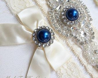 Royal Blue Wedding Garter, Royal Blue Bridal Garter Set, Stretch Lace Garter, Crystal Pearl Garter, Vintage Garter, Wedding Garter Belt-