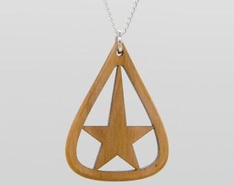 Star design necklace, Wooden pendant, Star in teardrop necklace