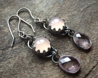 Dangling silver earrings with chalcedony and amethyst