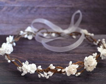 Flower crown wedding - White woodland crown - Bridal floral crown - Rustic flower crown - Flower girl wreath Hair wreath - Flower girl halo