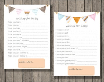 Wishes for baby printable, baby shower printable, baby neutral printable, banner design.