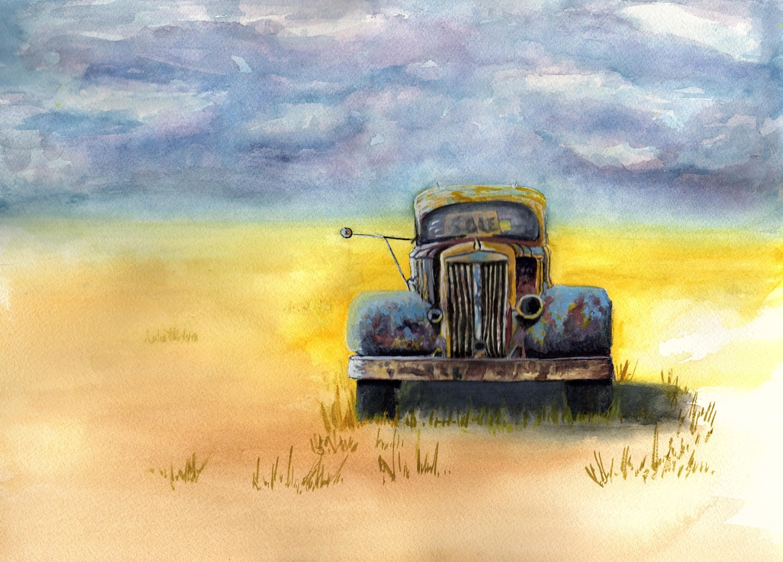 Rusted Truck Art Print Of Original Watercolor Painting Old Rustic Primitive Pickup Farmhouse Decor Barn Farm TRUCK224