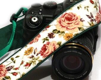 DSLR Camera Strap. Roses Camera Strap. Canon Nikon Camera Strap. Photo Gear.  Camera Accessories