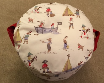 Child's bean bag/pouffe with handles in Belle & Boo fabric - ready for despatch
