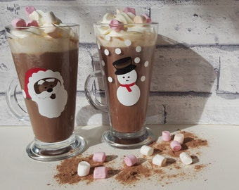 Father Christmas Santa Snowman Hot Chocolate or Latte Glasses