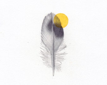 FEATHER. PRINT.Print from my original drawing. YELLOW point on feather.