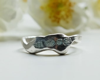 Fine silver, fused oganic 'nugget' ring
