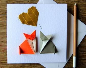 Big Love.  Wedding, Engagement, Anniversary, I Love you Card Origami Foxes and a Golden Heart