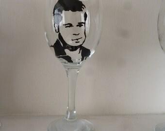 Hand Painted Brad Pitt Wine Glass
