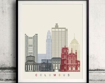 Columbus skyline poster - Fine Art Print Landmarks skyline Poster Gift Illustration Artistic Colorful Landmarks - SKU 2098