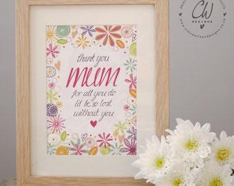 Thank You Mum Illustrated Art Print
