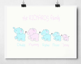 Personalised Elephant Family A4/A3 Print