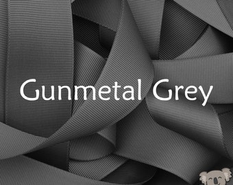 Gunmetal Grey Grosgrain Ribbon 3 Metre Cut, FREE Shipping, 64 Colours in 7 Widths Available