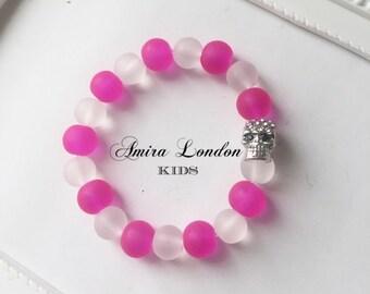 Skull bead bracelet,Children's frosted skull bracelet,silver diamonte skull charm,neon beads,gifts for girls,gift for boys,childrens jewelry