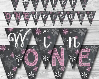 Winter ONEderland Banner INSTANT DOWNLOAD- Printable pink Winter Wonderland Banner - Winter Wonderland Party - Winter ONEderland Party