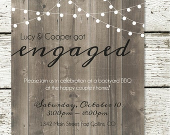 Elegant Backyard BBQ Engagement Party Invitation